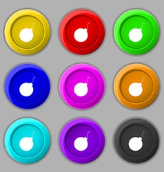 bomb icon sign symbol on nine round colourful vector image