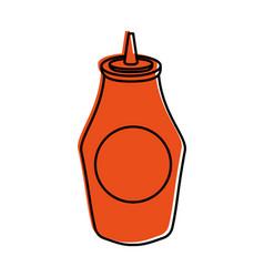 bottle of ketchup sauce ingredient fast food vector image