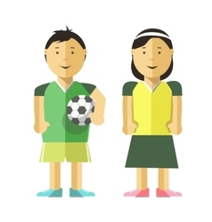 Boy girl and soccer ball vector image