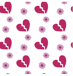 broken heart on white background seamless pattern vector image