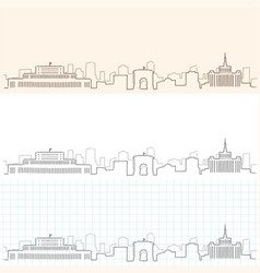Bucharest hand drawn skyline vector