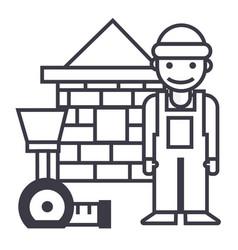builderbrick housemeter line icon sign vector image
