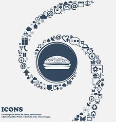 Burger hamburger sign icon in the center around vector