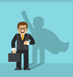 businessman and the shadow of a superhero vector image