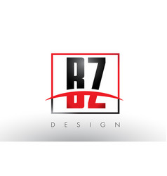 Bz b z logo letters with red and black colors vector