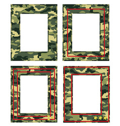 Camouflage photo frame with military distinctions vector