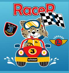 Car racing with happy racer cartoon vector