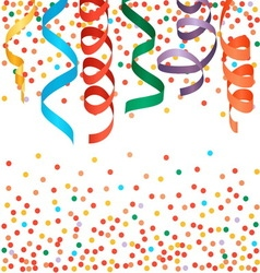 Carnival streamers and confetti background vector