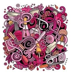 Cartoon doodles Nail salon vector image