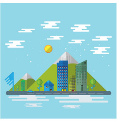 city and nature flat design background vector image