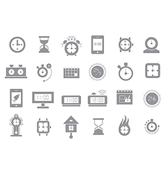 Clocks gray icons set vector image