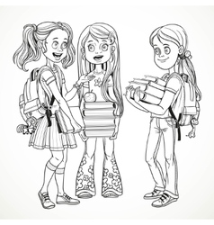 Company schoolgirl with textbooks and backpacks vector