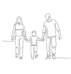 continuous line family happy mother father vector image