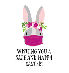 covid19 easter rabbit greeting card template vector image