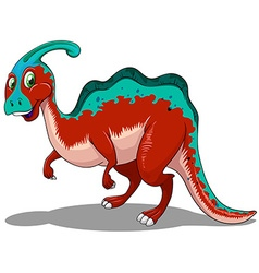 Cute red and blue dinosaur on white vector
