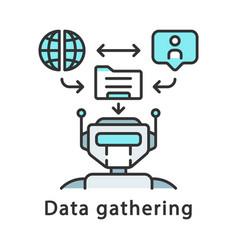 Data gathering color icon data collection robot vector