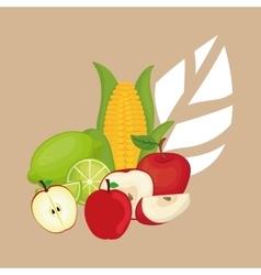 Delicious fresh fruits vegetable vector