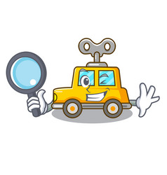 Detective cartoon clockwork toy car in table vector