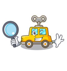detective cartoon clockwork toy car in table vector image