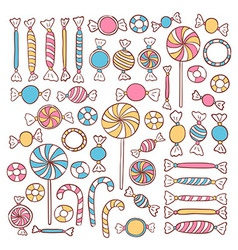 Doodle Candies Sweets Hand Drawn Objects Set vector image