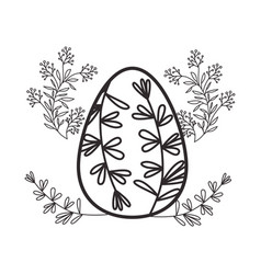 easter egg flowers and leafs isolated icon vector image