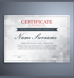 Elegant certificate design with white and gray vector