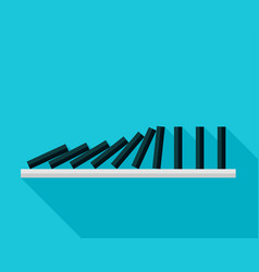 falling black dominoes on blue background vector image