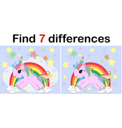 Find the difference the two funy little unicorn vector