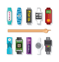 Fitness tracking bracelets set in flat style vector