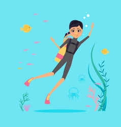 flat design character deep-sea diver with vector image