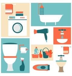 Flat design icons on a theme of bathroom toilet vector image