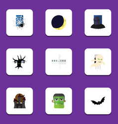 Flat icon celebrate set monster crescent vector