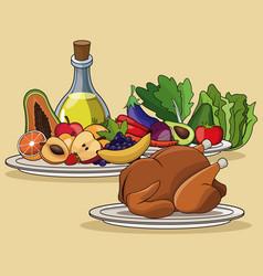 Food menu chicken fruit vegetable image vector