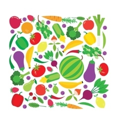 Fruit and vegetable square background vector image
