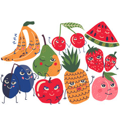 funny fruit characters set banana plum pear vector image