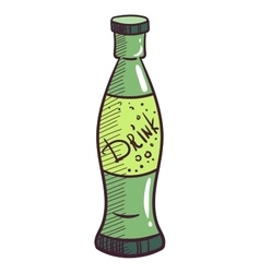 Glass Bottle With Drink vector