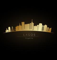 golden logo lagos skyline silhouette vector image