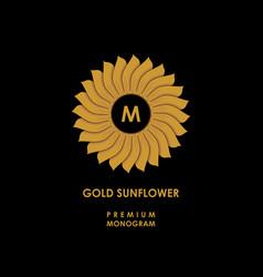 Golden sunflower template for creating logo vector