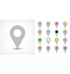 Gray map pin sign icon with drop shadow vector