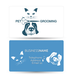 Grooming of dogs and cats business card vector