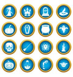 Halloween icons blue circle set vector
