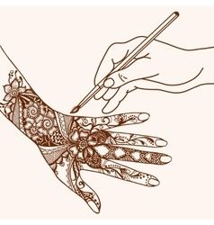 Hand Drawing Mehendi vector image