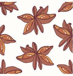 Hand drawn seamless pattern with star anise vector