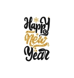 Happy new year 2017 gold lettering text Handmade vector
