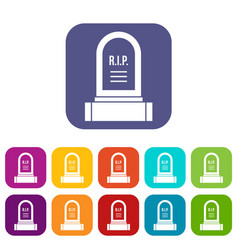 headstone icons set vector image