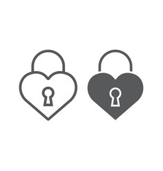 heart lock line and glyph icon love and padlock vector image