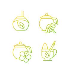 Herbal tea gradient linear icons set vector