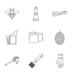 Honey commodity icons set outline style vector