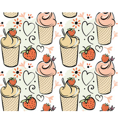 Ice cream with strawberry seamless pattern black vector