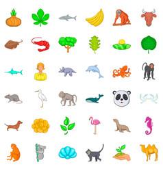 instinct icons set cartoon style vector image